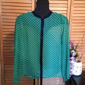 Green & Blue Lightweight Patterned Blouse